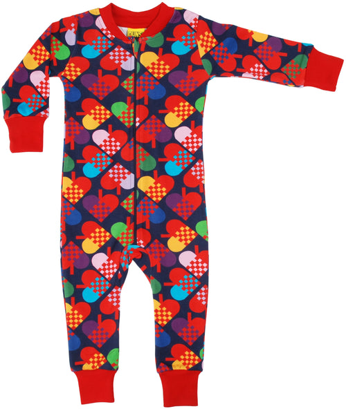 DUNS Heart Print Dark Blue Organic Cotton Zip Sleepsuit
