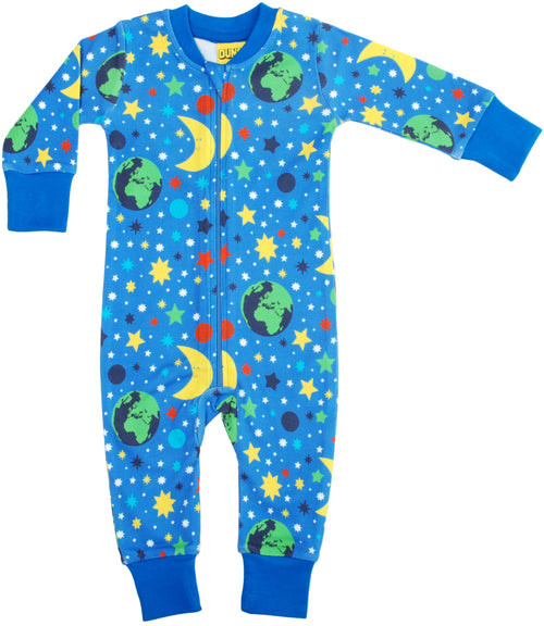 DUNS Mother Earth Print Blue Organic Cotton Zip Sleepsuit