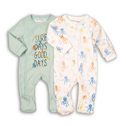 Octopus Print Cotton Sleepsuit Set (2 Sleepsuits)