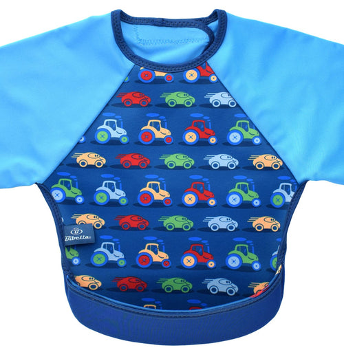 Bibetta Feeding Bib with Raglan Sleeves - Cars Print