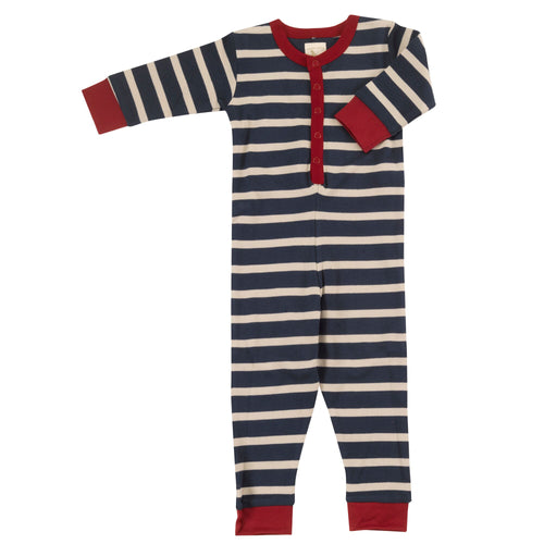 Ink Blue and Pumice Stripe Organic Cotton Onesie