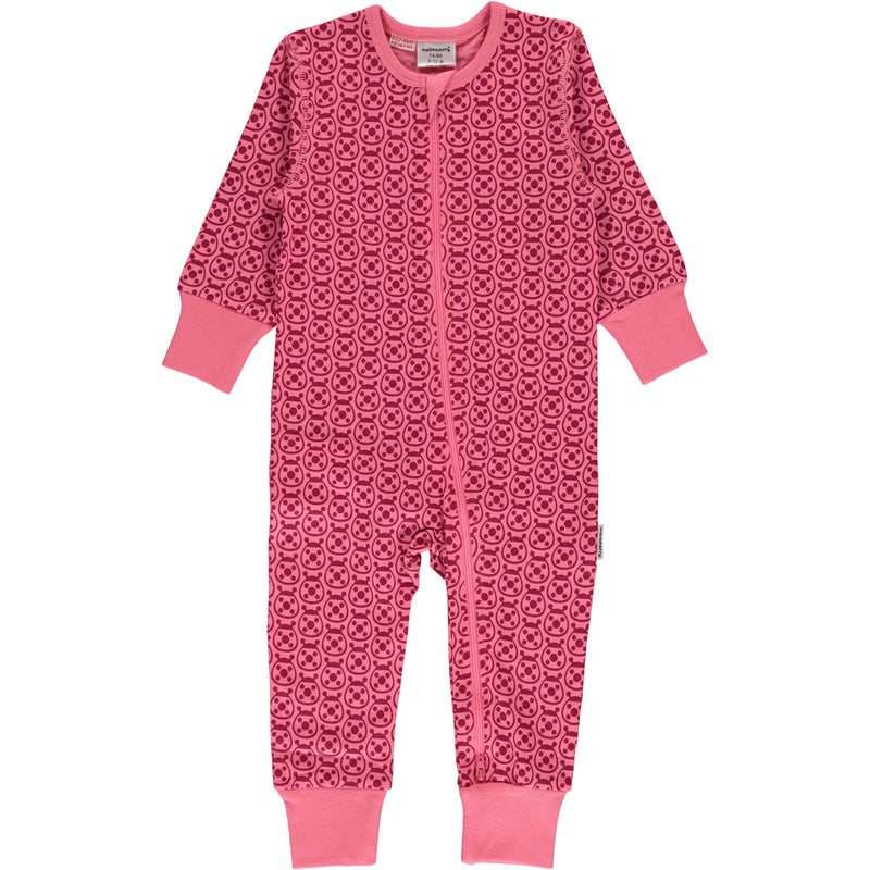 Maxomorra Ladybug Print Long Sleeve Zip Rompersuit