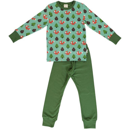 Maxomorra Busy Squirrel Print Long Sleeve Pj