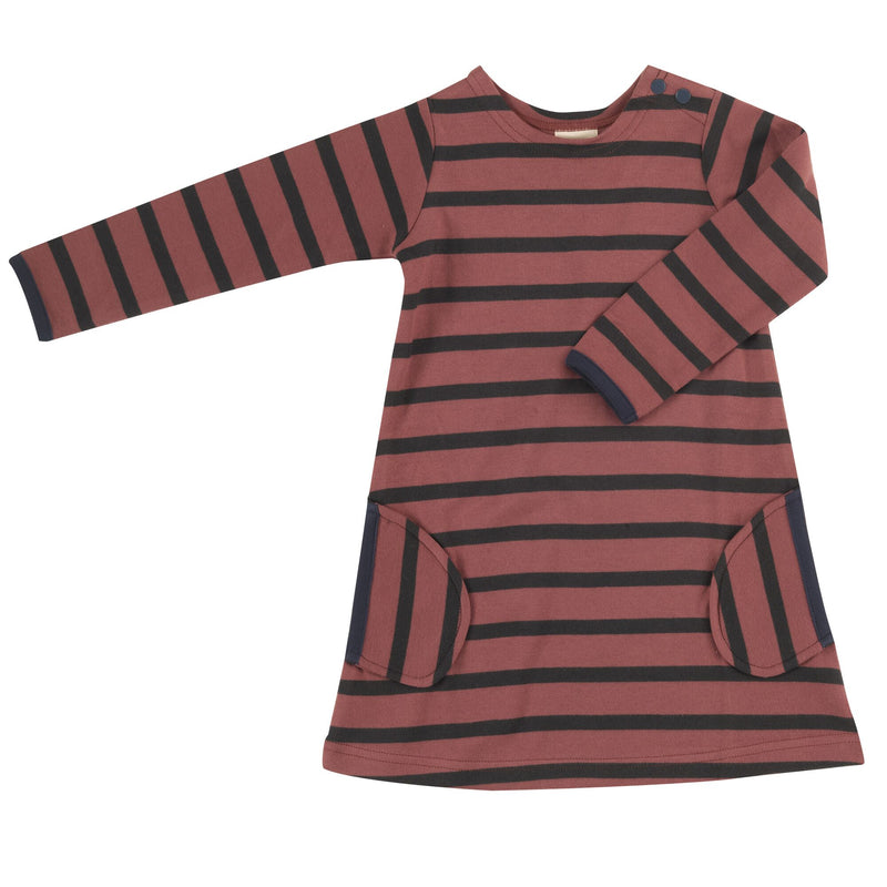 Organic Cotton Spice and Black Stripe Long Sleeve Breton Dress