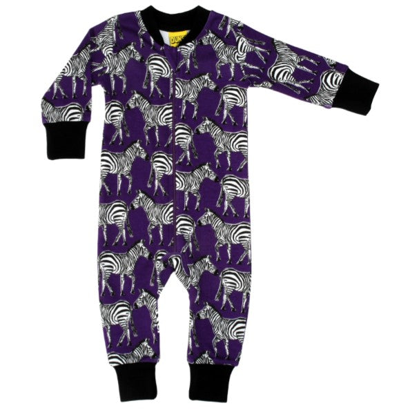 DUNS Funky Purple Zebra Print Organic Cotton Zip Sleepsuit