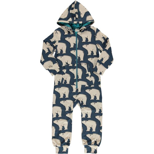 Maxomorra Polar Bear Print Hooded Onesie