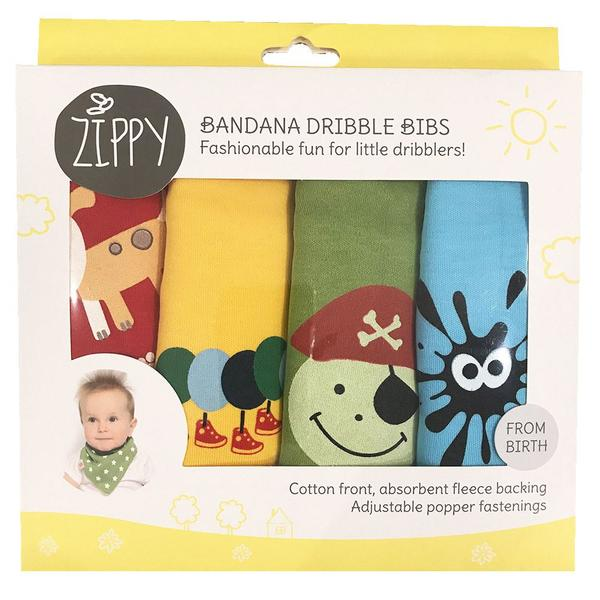Zippy Baby Bandana Dribble Bib 4 pack Fun Characters