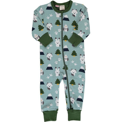 Maxomorra Winter World Print Long Sleeve Zip Rompersuit