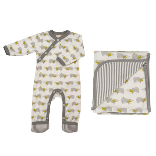 Badger Organic Cotton babygrow and blanket gift set