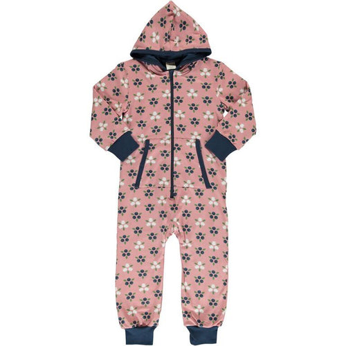 Maxomorra Blueberry Blossom Print Hooded Onesie