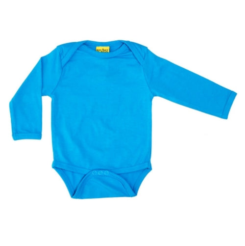 Long Sleeve Caribbean Blue Organic Cotton Bodysuit