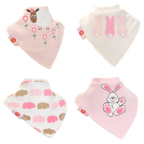 Zippy Baby Bandana Dribble Bibs 4 pack Cute Pinks