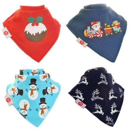 Zippy Baby Bandana Dribble Bib 4 pack Christmas Stags, Snowman, Raindeer