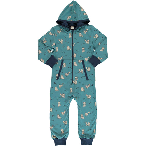 Maxomorra Arctic Fox Print Hooded Onesie
