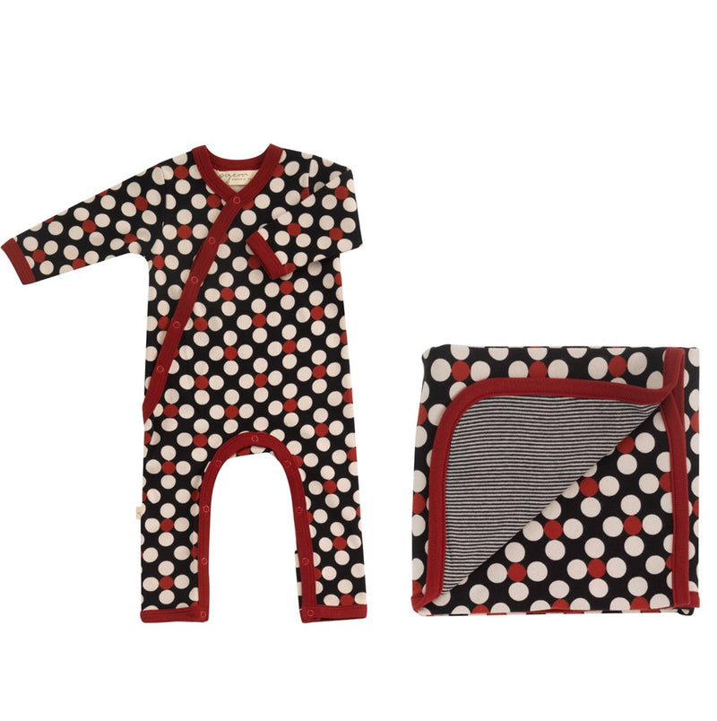 Organic Cotton Dotty Print Romper & Blanket Gift Set