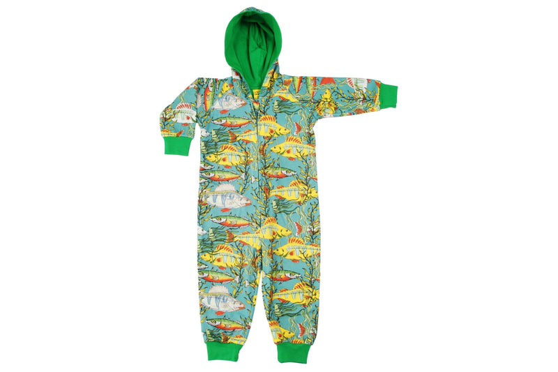 DUNS Seaweed Print Organic Cotton Lined Teal Zip Sleepsuit with Hood