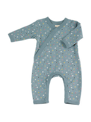 Blue Organic Cotton Dots Romper