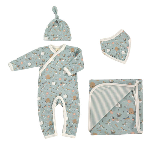 Country Garden Dragonfly Romper, Knotted Hat, Bib & Blanket Organic Cotton Gift Set