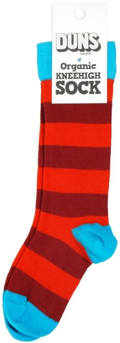 DUNS Knee High Striped Socks Red