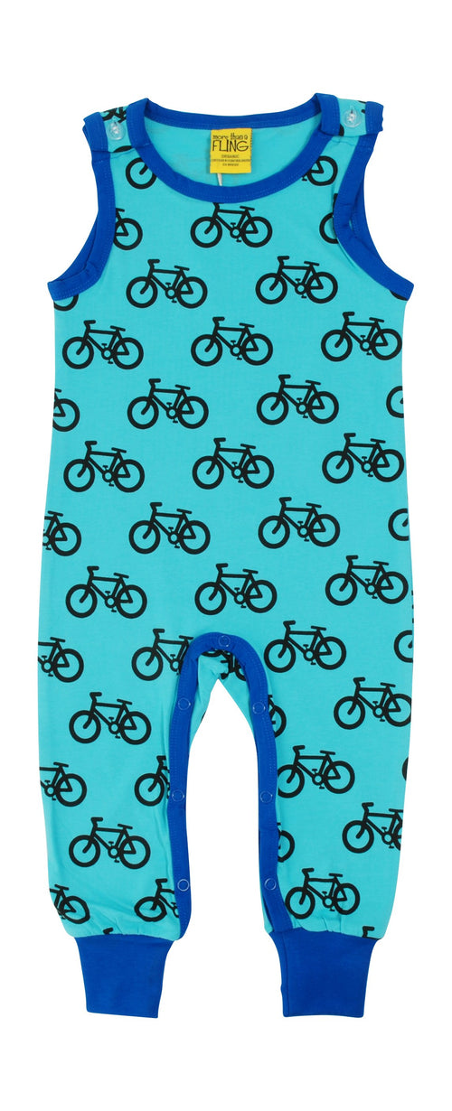 More than a Fling Bike Print Blue Organic Cotton Dungarees
