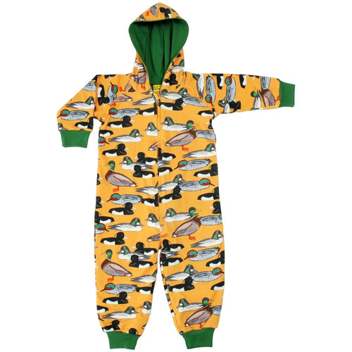 DUNS Duck Pond Print Organic Cotton Lined Zip Sleepsuit with Hood