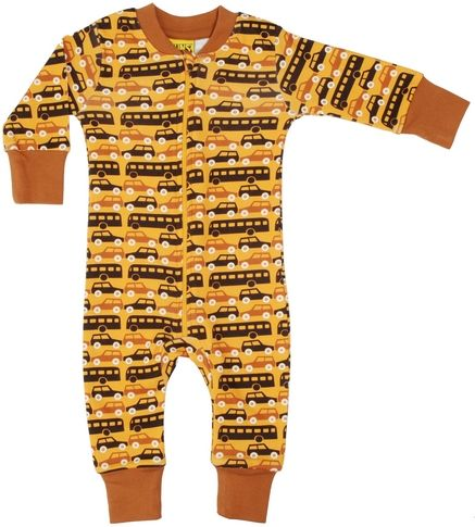 Duns Organic Cotton Buses and Cars Print Mustard Zip Sleepsuit