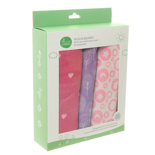 Ziggle Baby Girl Muslin Squares 3 pack Pink Lilac