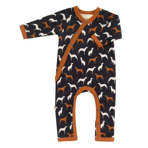 Organic Cotton Navy Dogs Print Romper