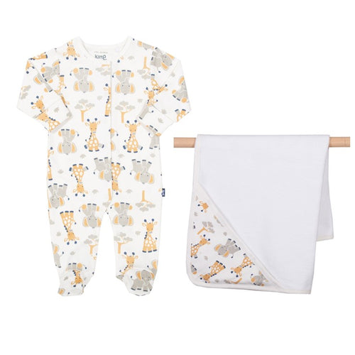 Giraffe and Ele Sleepsuit & Cuddle Wrap Gift set