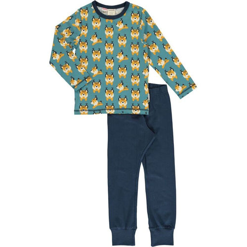Maxomorra Lively Lynx Print Long Sleeve Pyjamas Set