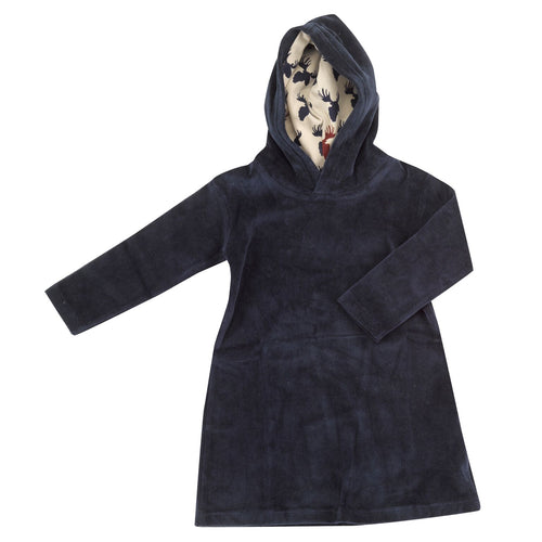 Ink Blue Velour Hooded Dress