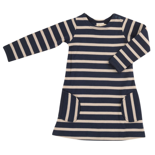 Organic Cotton Ink Blue and Pumice Stripe Long Sleeve Breton Dress