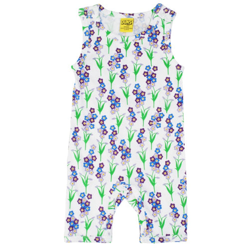 DUNS Forget me Not Print Organic Cotton White Summer Dungaree