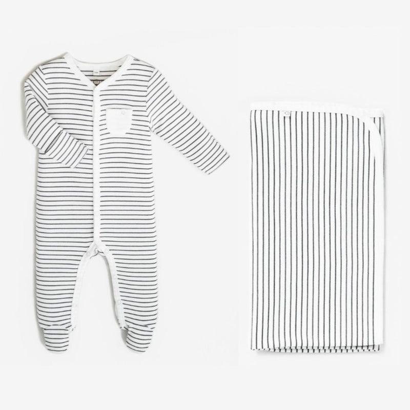 Grey Striped Babygrow & Blanket - Unisex Gift Set