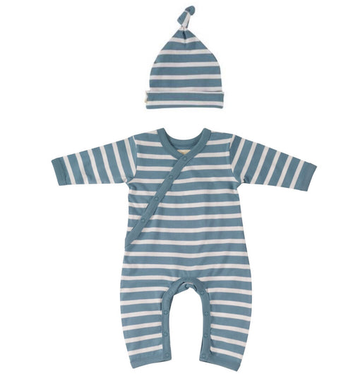 Adriatic Blue Breton Stripe Romper & Knotted Hat - Organic Cotton Gift Set