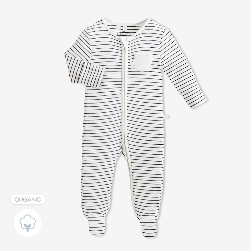 Grey Stripe Zip Sleepsuit