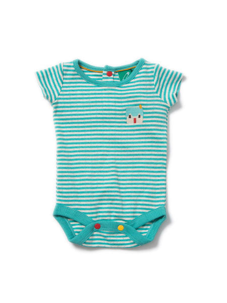Sky Blue Pointelle Short Sleeve Baby Bodysuit