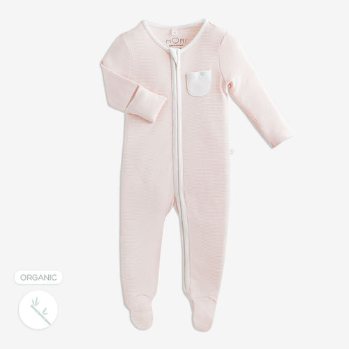 Blush Stripe zip babygrow baby Mori available from babygrow.ie