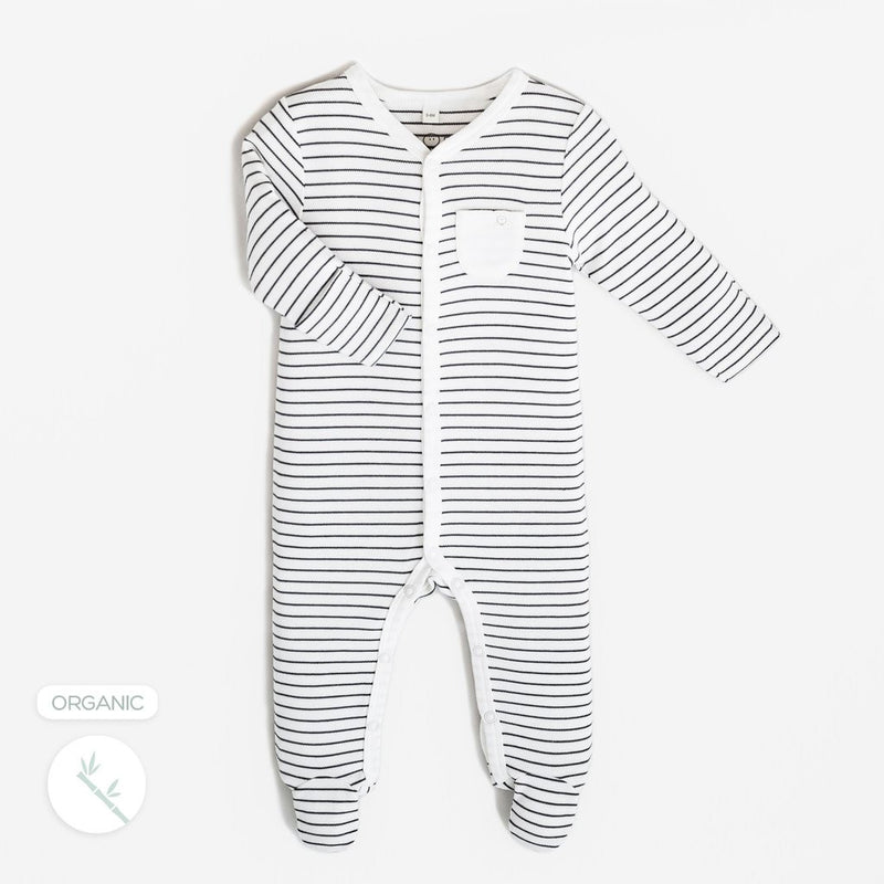 Grey Striped Front Opening Babygrow