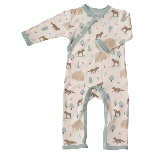 Blue fox and bear woodland babygrow