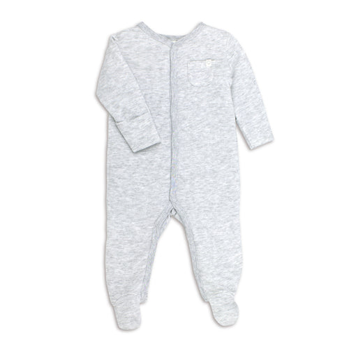 Soft grey front opening organic cotton babygrow from baby mori available from Babygrow.ie