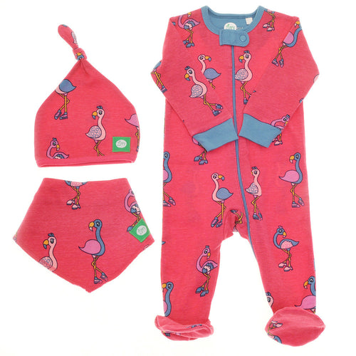 Pink Flamingo Zip Babygrow, Hat and Bib set for girls