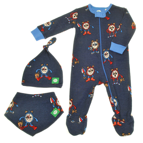 Blue zippy gift set for boys alarm clock babygrow