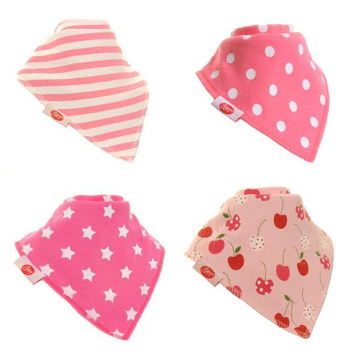 Zippy Baby Girl Bandana Dribble Bib 4 pack Pretty Pinks