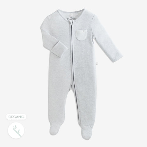 Soft Grey Zip Babygrow