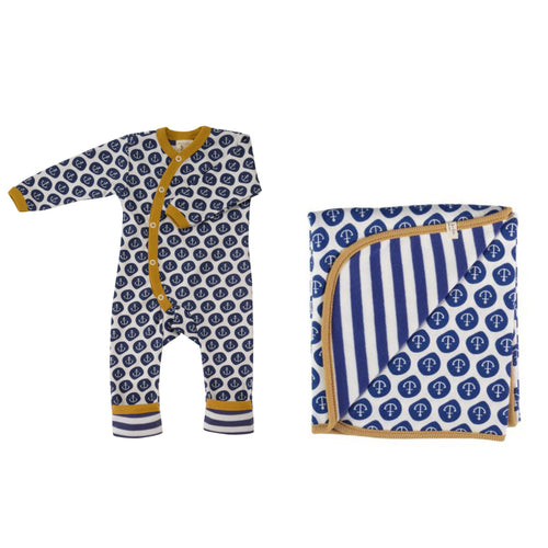 Nautical Navy Anchor Organic Cotton Romper & Anchor Blanket Gift Set