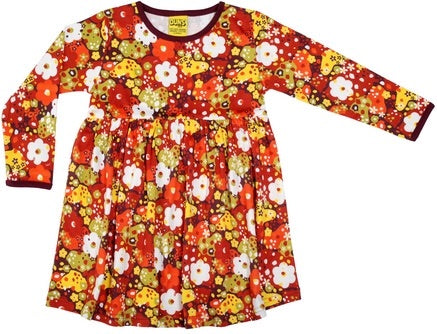 DUNS Red Pompeian Flower Organic Cotton Long Sleeve Gather Dress