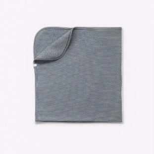 Blue Grey Striped Brushed Cotton Blanket