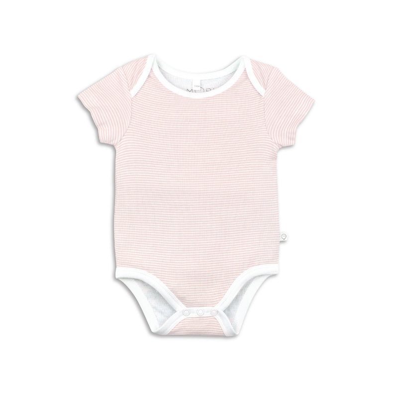 Pink striped short sleeve vest for baby girl