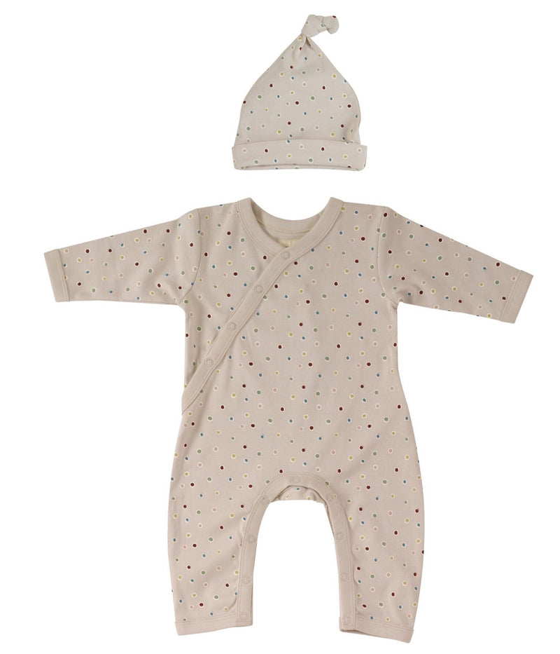 Spots on Taupe Romper & Knotted Hat - Organic Cotton Gift Set